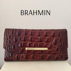 Brahmin Soft Checkbook Wallet Pecan